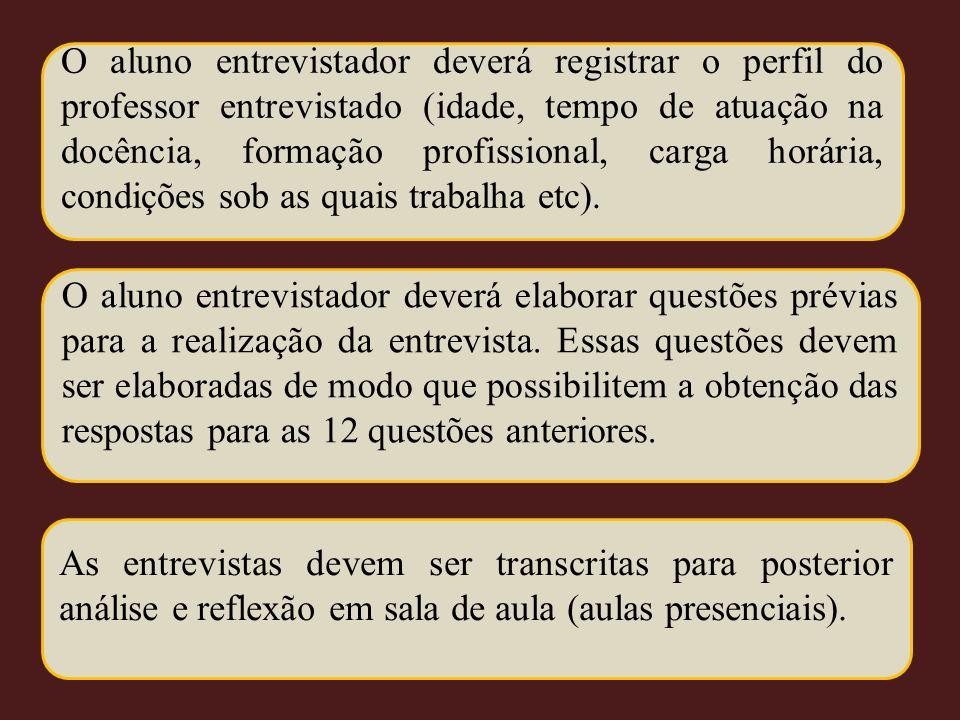 O aluno entrevistador deverá registrar o perfil do professor entrevistado (idade, tempo de atuação na docência, formação profissional, carga horária,