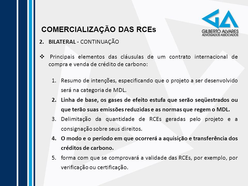 COMERCIALIZAÇÃO DAS RCEs 2.BILATERAL - CONTINUAÇÃO Principais elementos das cláusulas de um contrato internacional de compra e venda de crédito de car