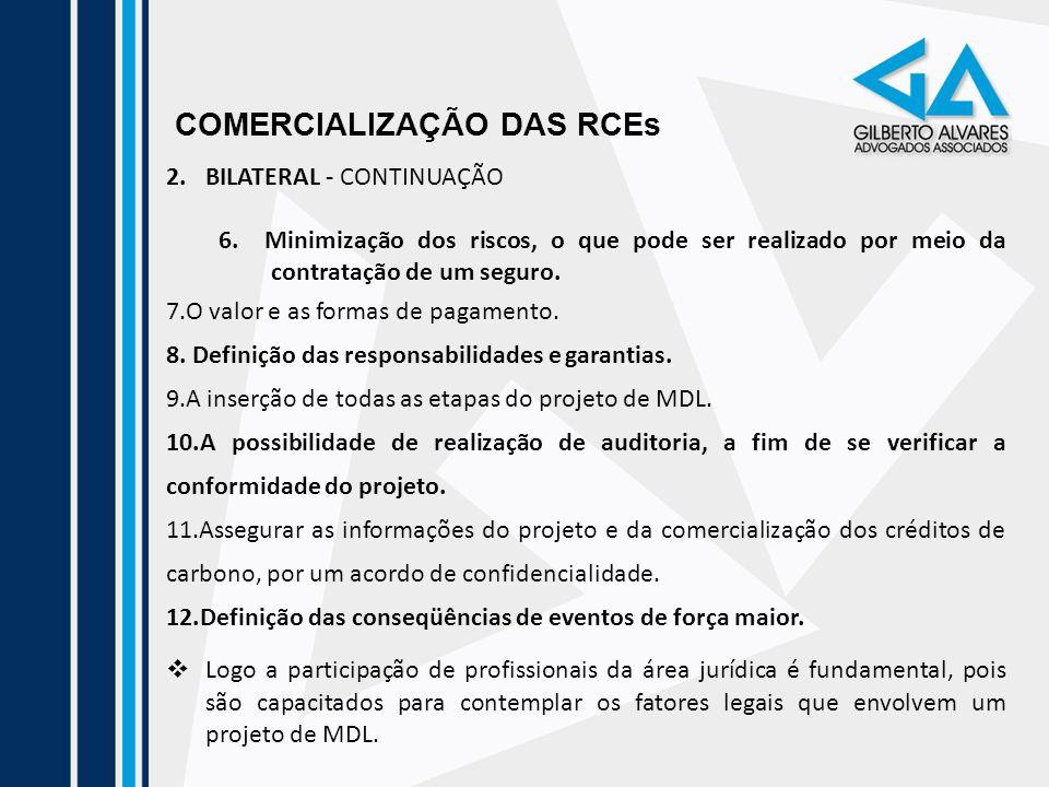 COMERCIALIZAÇÃO DAS RCEs 2.BILATERAL - CONTINUAÇÃO 6. Minimização dos riscos, o que pode ser realizado por meio da contratação de um seguro. 7.O valor
