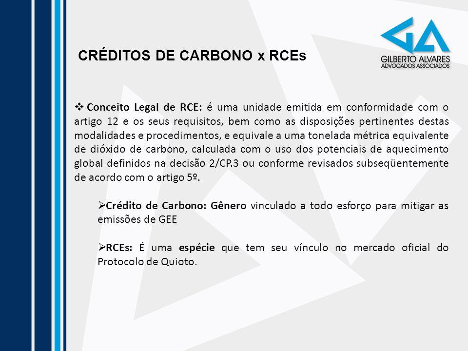 CRÉDITOS DE CARBONO x RCEs Conceito Legal de RCE: é uma unidade emitida em conformidade com o artigo 12 e os seus requisitos, bem como as disposições