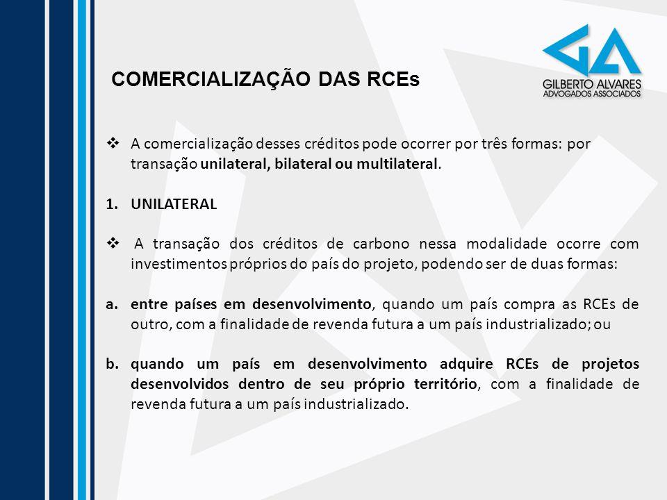 COMERCIALIZAÇÃO DAS RCEs A comercialização desses créditos pode ocorrer por três formas: por transação unilateral, bilateral ou multilateral. 1.UNILAT