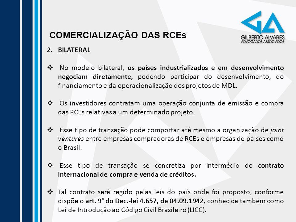 COMERCIALIZAÇÃO DAS RCEs 2.BILATERAL No modelo bilateral, os países industrializados e em desenvolvimento negociam diretamente, podendo participar do