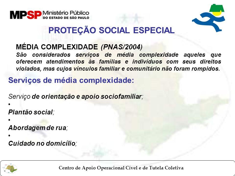 Centro de Apoio Operacional Cível e de Tutela Coletiva MÉDIA COMPLEXIDADE (PNAS/2004 ) São considerados serviços de média complexidade aqueles que ofe