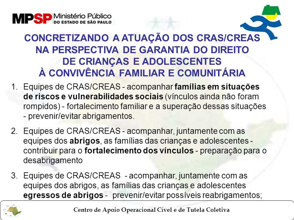 Centro de Apoio Operacional Cível e de Tutela Coletiva CONCRETIZANDO A ATUAÇÃO DOS CRAS/CREAS NA PERSPECTIVA DE GARANTIA DO DIREITO DE CRIANÇAS E ADOL