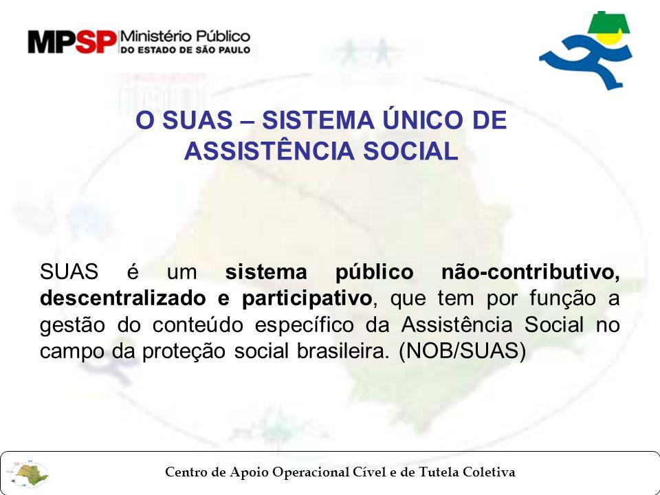 Centro de Apoio Operacional Cível e de Tutela Coletiva O SUAS – SISTEMA ÚNICO DE ASSISTÊNCIA SOCIAL SUAS é um sistema público não-contributivo, descen