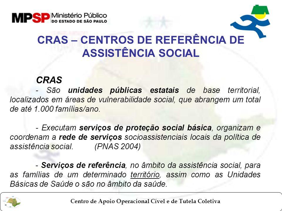 Centro de Apoio Operacional Cível e de Tutela Coletiva CRAS - São unidades públicas estatais de base territorial, localizados em áreas de vulnerabilid