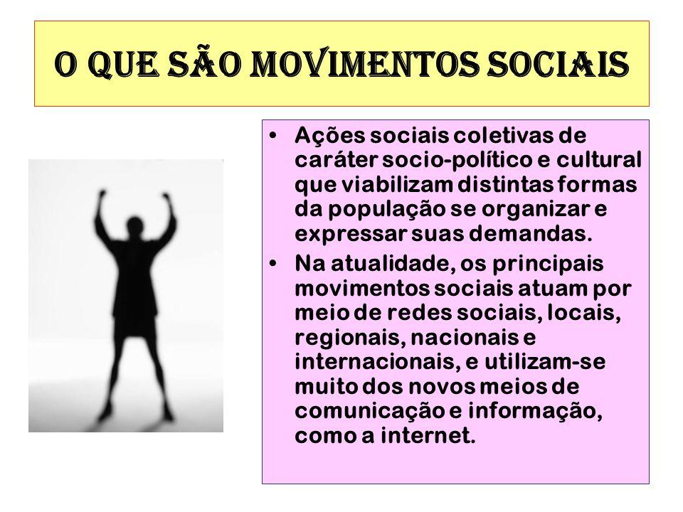 O QUE SÃO MOVIMENTOS SOCIAIS Ações sociais coletivas de caráter socio-político e cultural que viabilizam distintas formas da população se organizar e