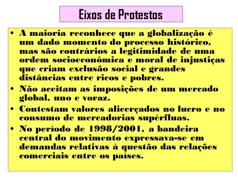 Eixos de Protestos A maioria reconhece que a globalização é um dado momento do processo histórico, mas são contrários a legitimidade de uma ordem soci
