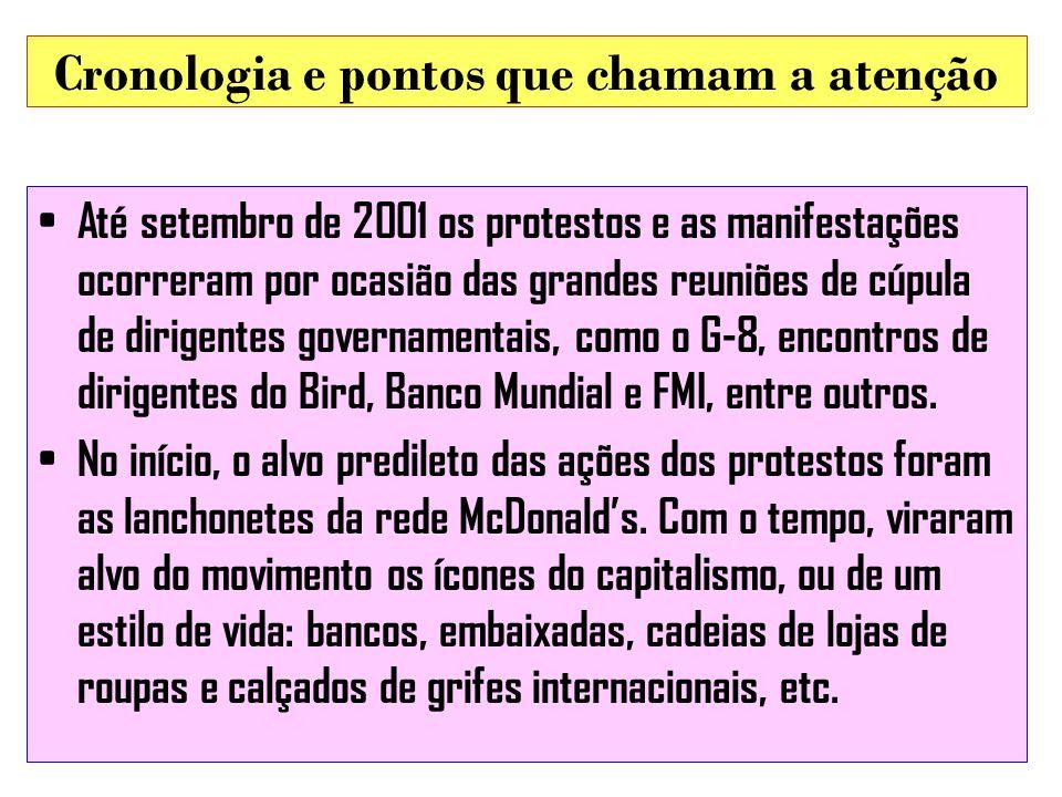 Cronologia e pontos que chamam a atenção Até setembro de 2001 os protestos e as manifestações ocorreram por ocasião das grandes reuniões de cúpula de