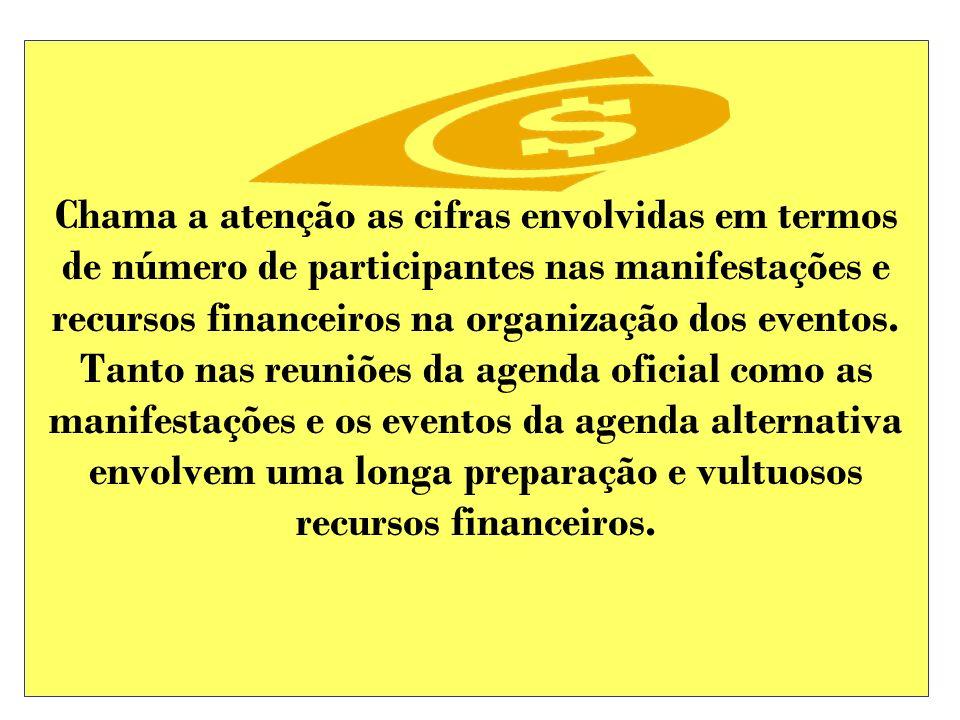 Chama a atenção as cifras envolvidas em termos de número de participantes nas manifestações e recursos financeiros na organização dos eventos. Tanto n
