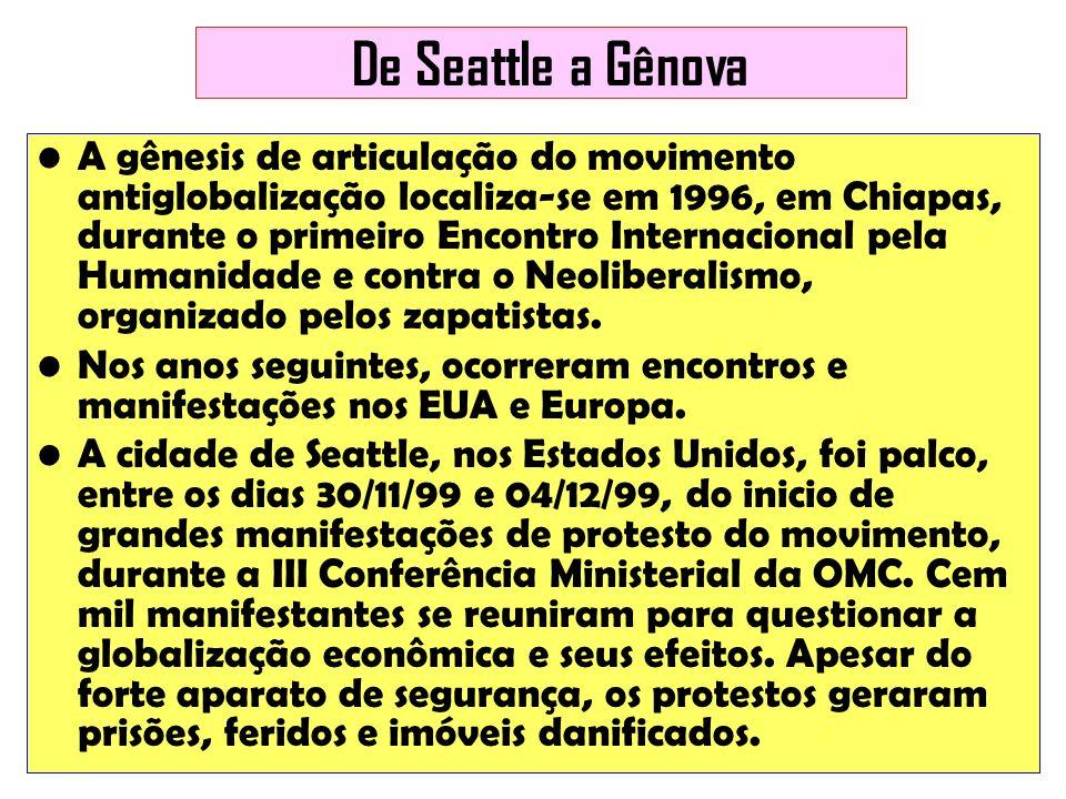 De Seattle a Gênova A gênesis de articulação do movimento antiglobalização localiza-se em 1996, em Chiapas, durante o primeiro Encontro Internacional
