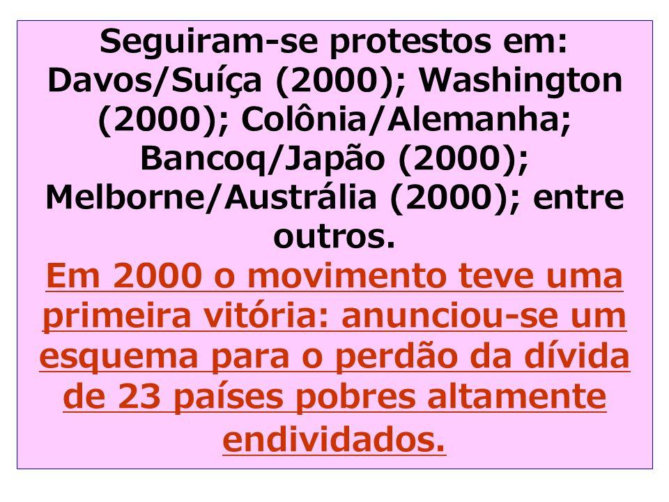 Seguiram-se protestos em: Davos/Suíça (2000); Washington (2000); Colônia/Alemanha; Bancoq/Japão (2000); Melborne/Austrália (2000); entre outros. Em 20