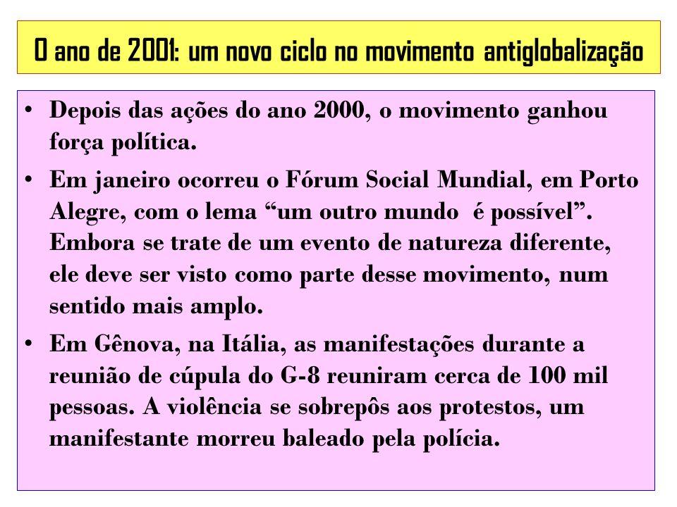 O ano de 2001: um novo ciclo no movimento antiglobalização Depois das ações do ano 2000, o movimento ganhou força política. Em janeiro ocorreu o Fórum
