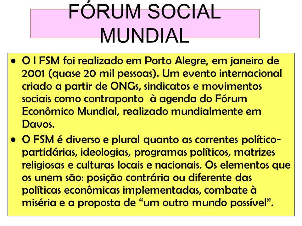 FÓRUM SOCIAL MUNDIAL O I FSM foi realizado em Porto Alegre, em janeiro de 2001 (quase 20 mil pessoas). Um evento internacional criado a partir de ONGs