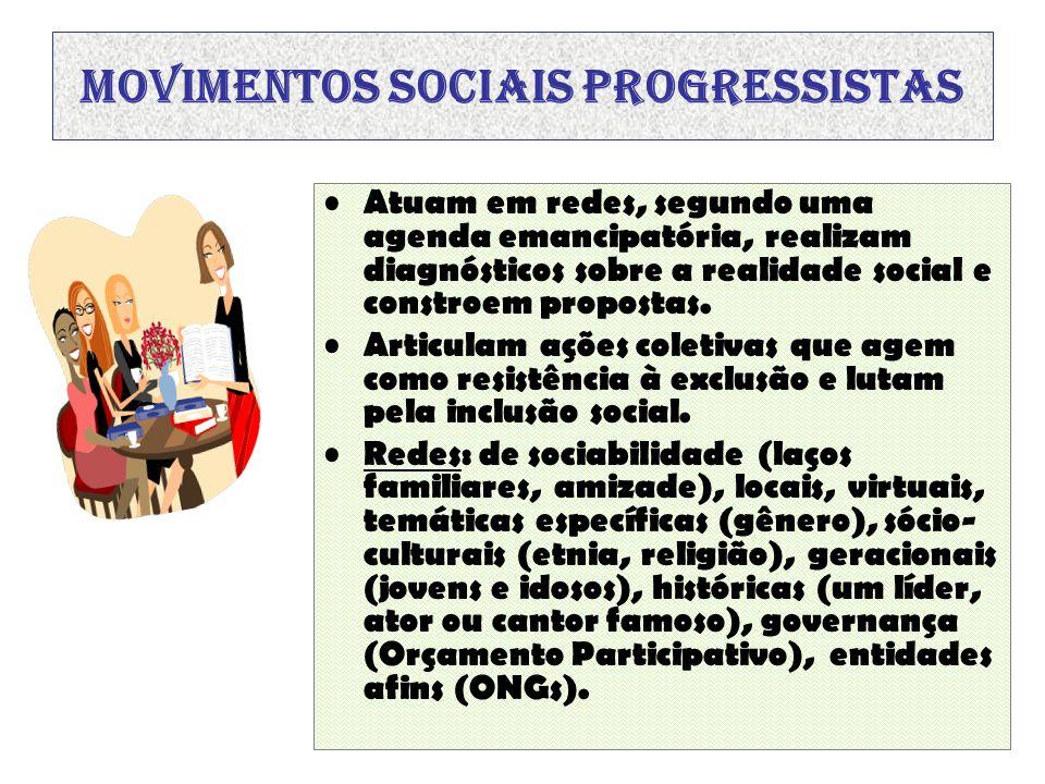 Movimentos sociais progressistas Atuam em redes, segundo uma agenda emancipatória, realizam diagnósticos sobre a realidade social e constroem proposta
