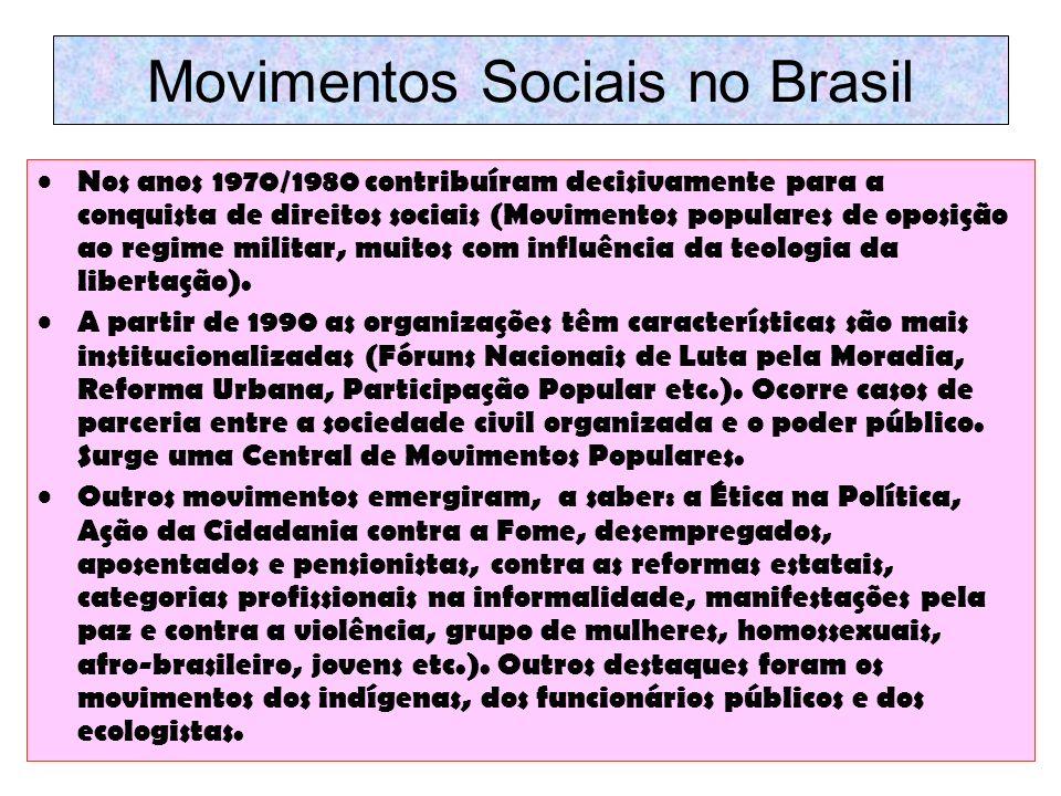 Movimentos Sociais no Brasil Nos anos 1970/1980 contribuíram decisivamente para a conquista de direitos sociais (Movimentos populares de oposição ao r