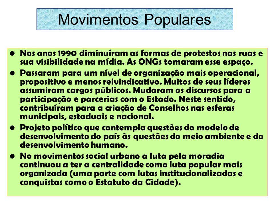 Movimentos Populares Nos anos 1990 diminuíram as formas de protestos nas ruas e sua visibilidade na mídia. As ONGs tomaram esse espaço. Passaram para