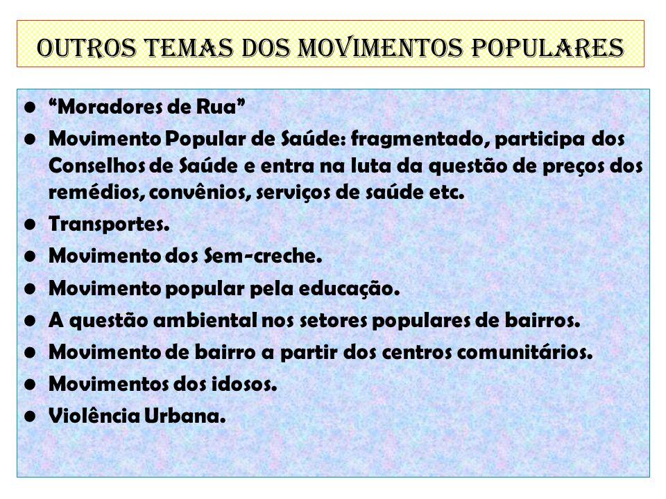 Outros temas dos Movimentos Populares Moradores de Rua Movimento Popular de Saúde: fragmentado, participa dos Conselhos de Saúde e entra na luta da qu