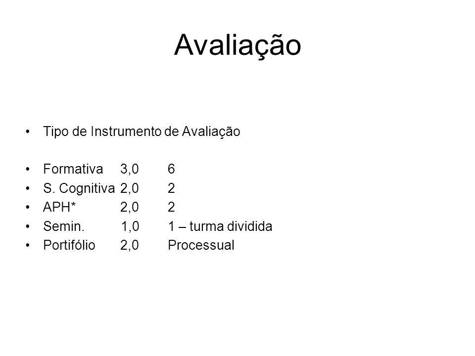 Avaliação Tipo de Instrumento de Avaliação Formativa3,06 S. Cognitiva2,02 APH*2,02 Semin. 1,01 – turma dividida Portifólio2,0Processual