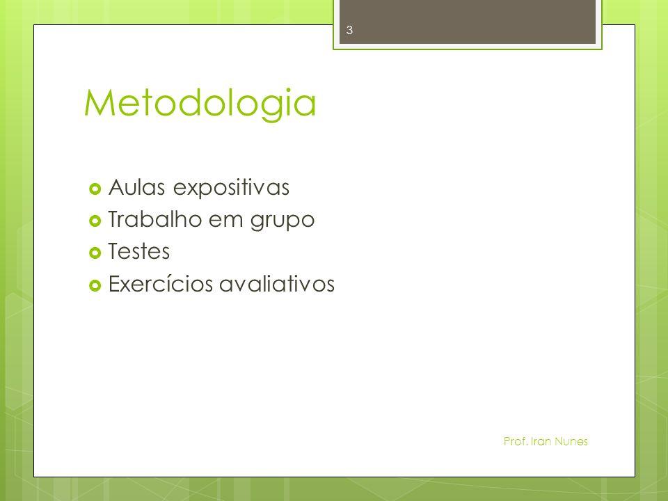 Metodologia Aulas expositivas Trabalho em grupo Testes Exercícios avaliativos 3 Prof. Iran Nunes
