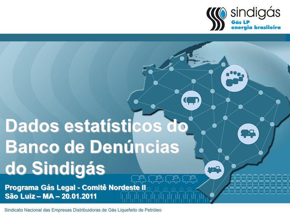 Dados estatísticos do Banco de Denúncias do Sindigás Programa Gás Legal - Comitê Nordeste II São Luiz – MA – 20.01.2011