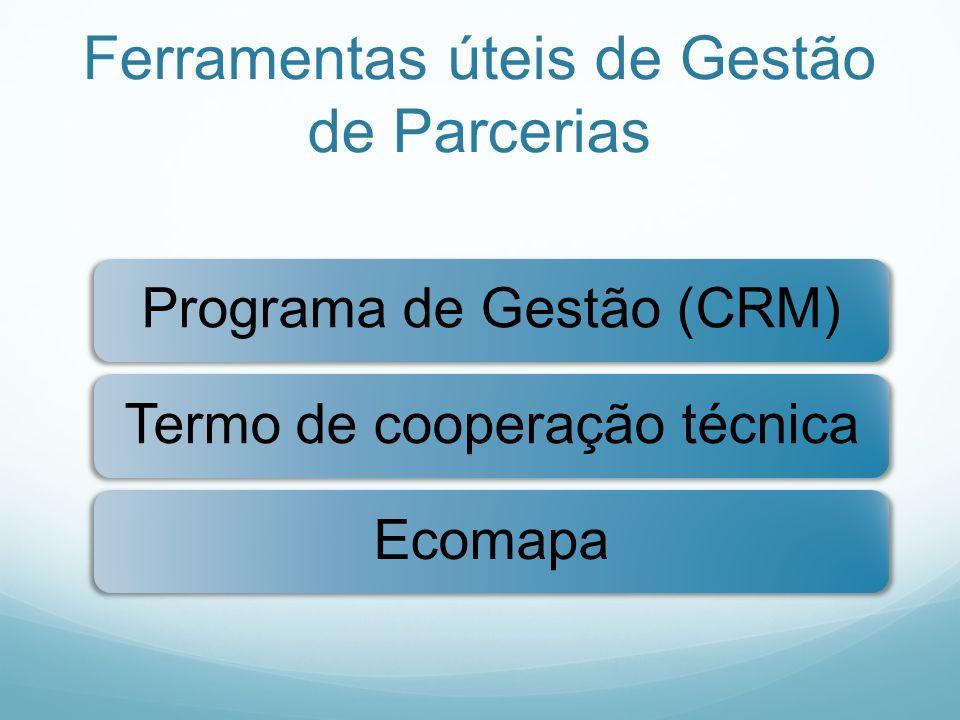 Ferramentas úteis de Gestão de Parcerias Programa de Gestão (CRM)Termo de cooperação técnicaEcomapa