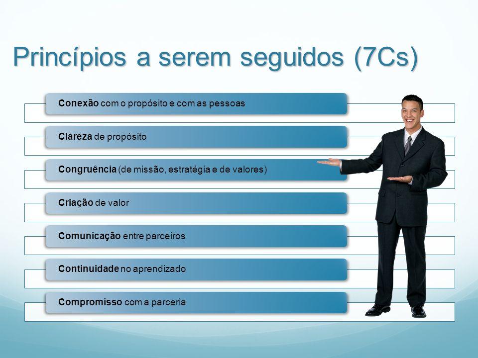 Princípios a serem seguidos (7Cs) Conexão com o propósito e com as pessoasClareza de propósitoCongruência (de missão, estratégia e de valores)Criação de valorComunicação entre parceirosContinuidade no aprendizadoCompromisso com a parceria