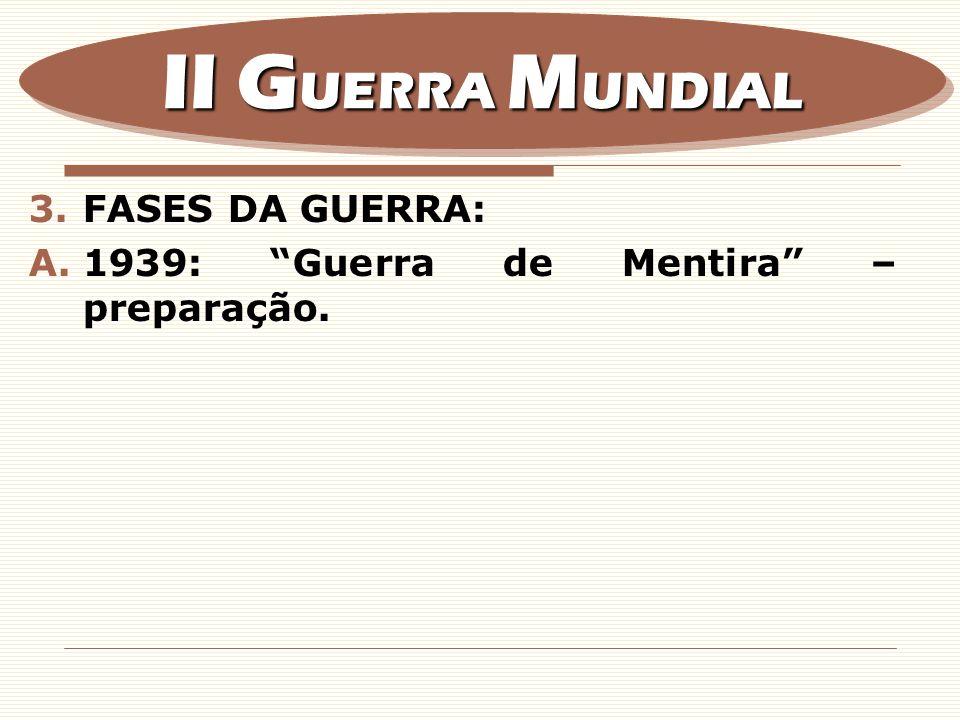3.FASES DA GUERRA: A.1939: Guerra de Mentira – preparação. II G UERRA M UNDIAL
