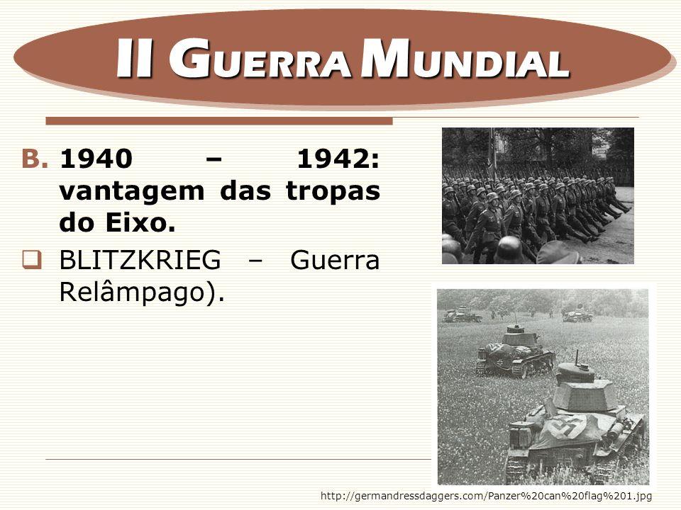 B.1940 – 1942: vantagem das tropas do Eixo. BLITZKRIEG – Guerra Relâmpago). II G UERRA M UNDIAL http://germandressdaggers.com/Panzer%20can%20flag%201.