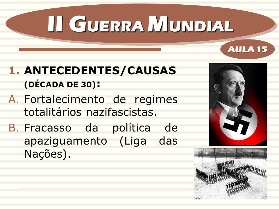 1.ANTECEDENTES/CAUSAS (DÉCADA DE 30) : A.Fortalecimento de regimes totalitários nazifascistas. B.Fracasso da política de apaziguamento (Liga das Naçõe