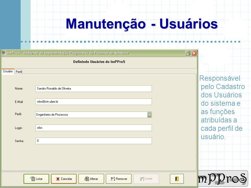www.cin.ufpe.br/~imppros Projeto ImPProS Responsável pelo cadastro das Organizações, Pessoas, Softwares e do Projeto ImPPros