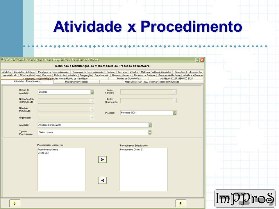 www.cin.ufpe.br/~imppros Meta Modelo - Mapeamentos Uma das características fortes do ImPProS Atividade x Procedimento Processos Modelo Referência X Mo