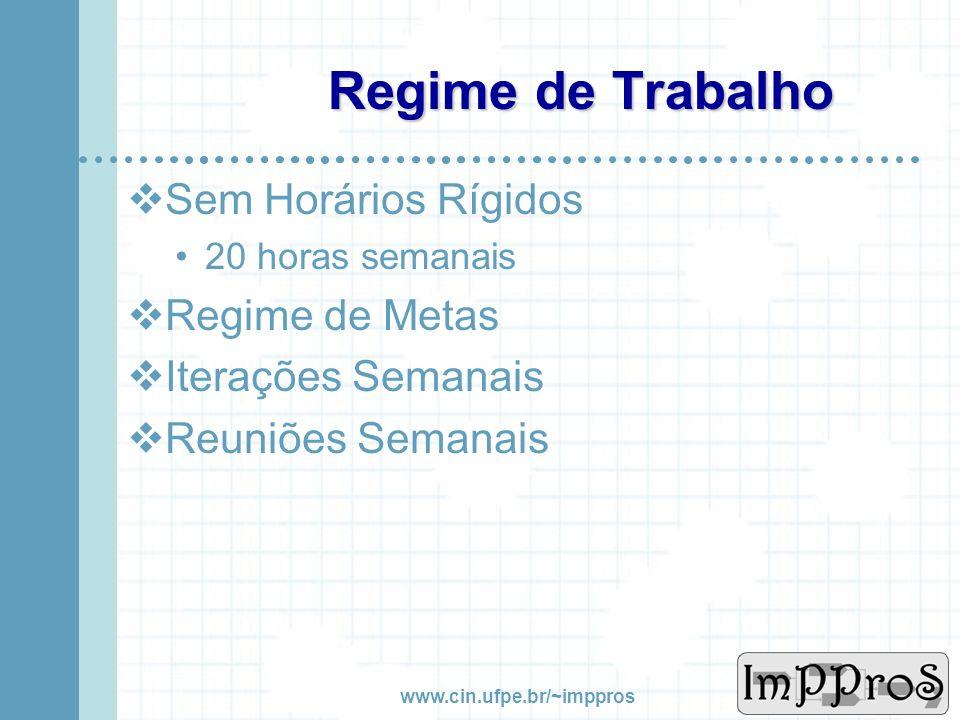 www.cin.ufpe.br/~imppros Agenda Regime de Trabalho Arquitetura do Sistema Módulos do Ambiente Projeto ImPProS Manutenção Gerenciamento Métricas Referê