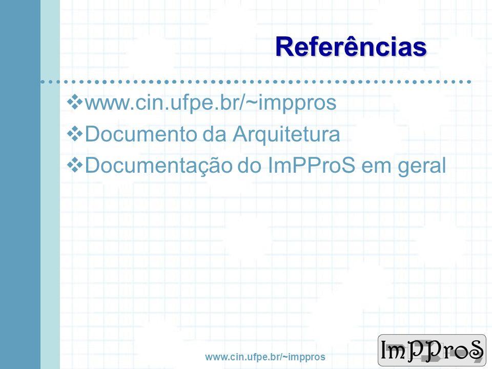 www.cin.ufpe.br/~imppros Algumas Métricas Quantidade Linhas de Código42.700 Classes215 Métodos Estáticos127 Blocos Aninhados8 McCable CC53 Refactoring