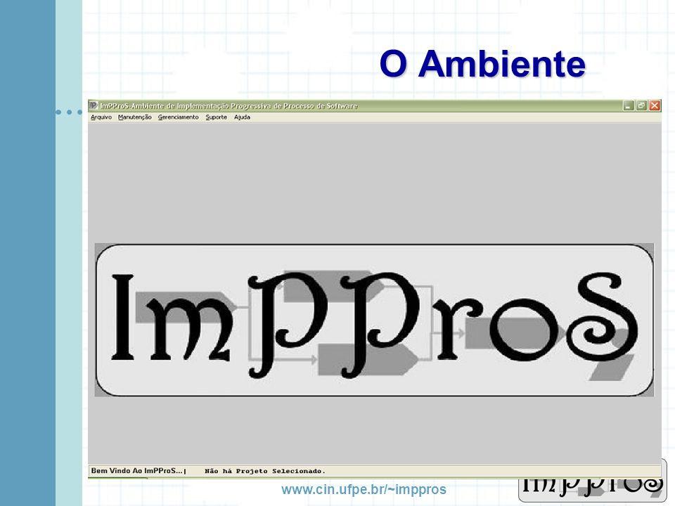 www.cin.ufpe.br/~imppros Arquitetura do Sistema Banco de Dados Modelo Estrutural Aprox. 110 tabelas Integração com outras ferramentas Apenas JDBC