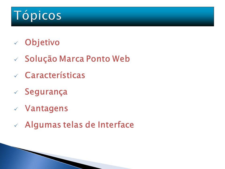 Objetivo Solução Marca Ponto Web Características Segurança Vantagens Algumas telas de Interface
