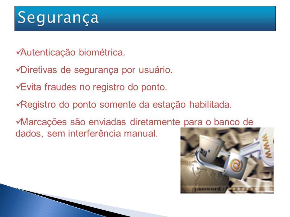 Baixo custo do equipamento de biometria e infra-estrutura de rede; Não é necessário aquisição de banco de dados pois o sistema fica armazenado em nosso servidor.
