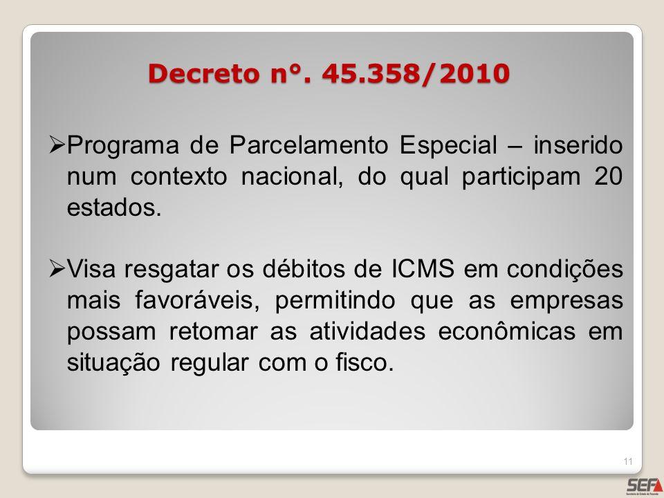 Decreto n°. 45.358/2010 Programa de Parcelamento Especial – inserido num contexto nacional, do qual participam 20 estados. Visa resgatar os débitos de