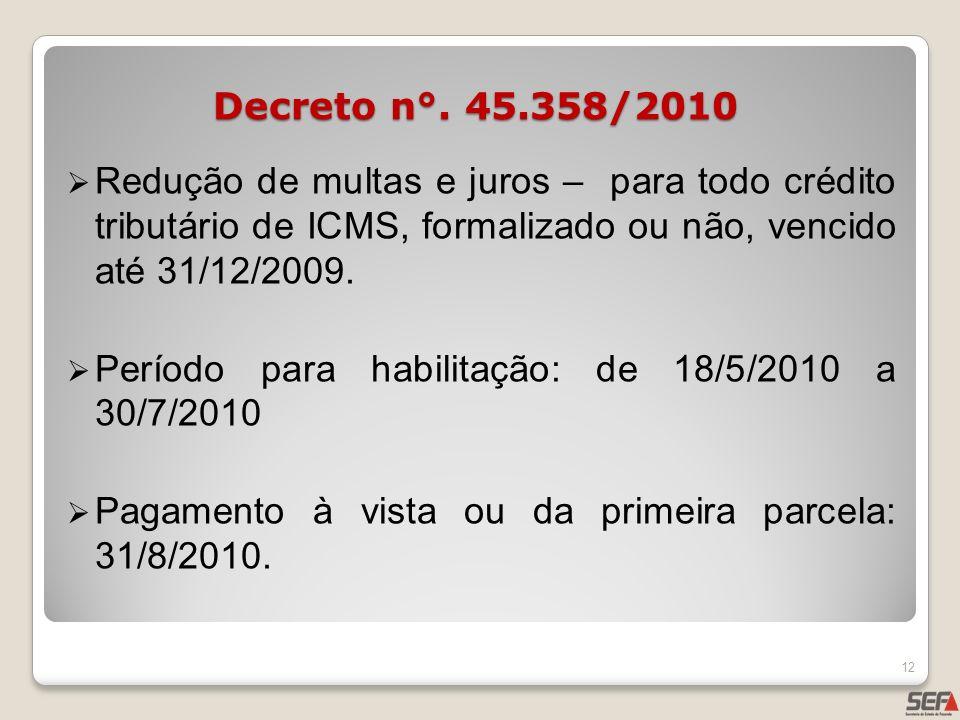 Redução de multas e juros – para todo crédito tributário de ICMS, formalizado ou não, vencido até 31/12/2009. Período para habilitação: de 18/5/2010 a