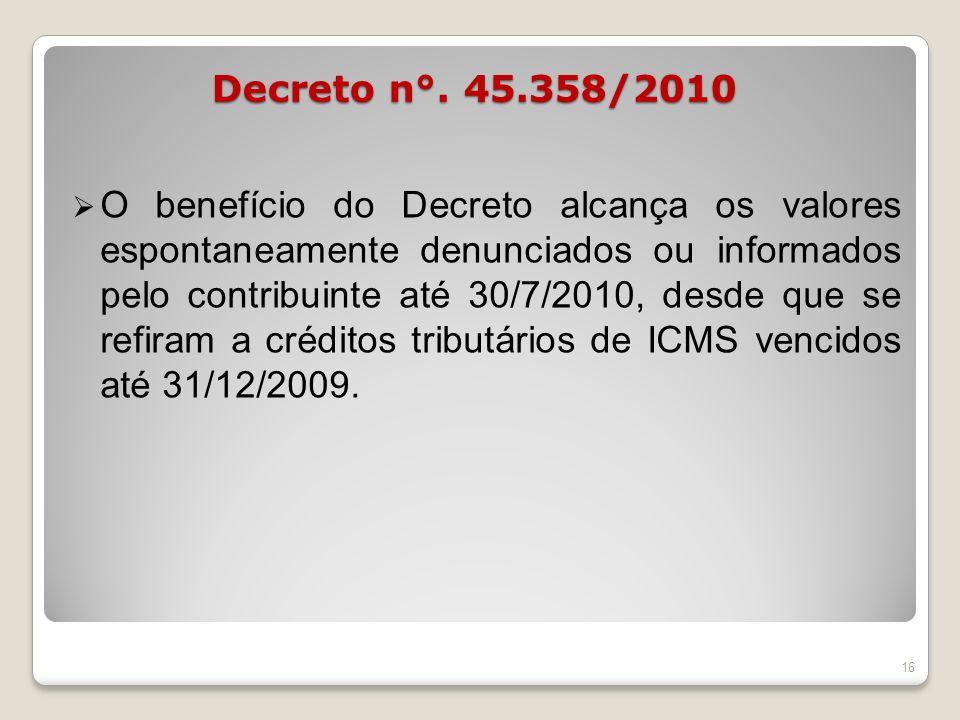 O benefício do Decreto alcança os valores espontaneamente denunciados ou informados pelo contribuinte até 30/7/2010, desde que se refiram a créditos t