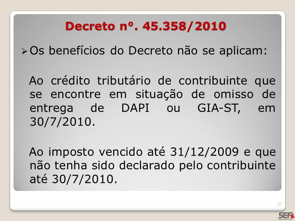 Os benefícios do Decreto não se aplicam: Ao crédito tributário de contribuinte que se encontre em situação de omisso de entrega de DAPI ou GIA-ST, em