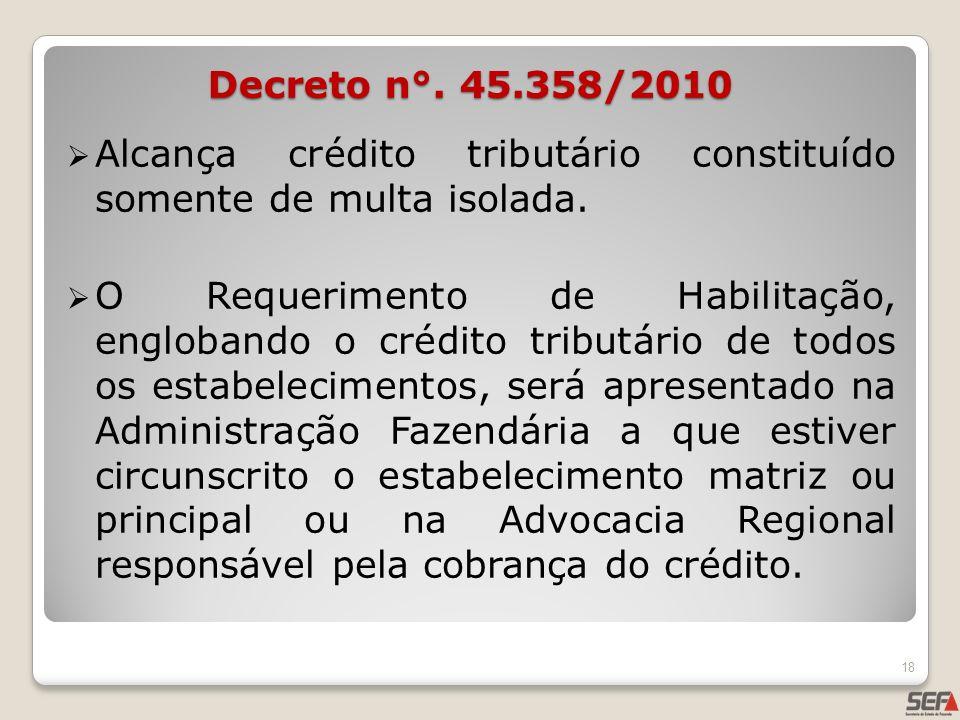 Alcança crédito tributário constituído somente de multa isolada. O Requerimento de Habilitação, englobando o crédito tributário de todos os estabeleci