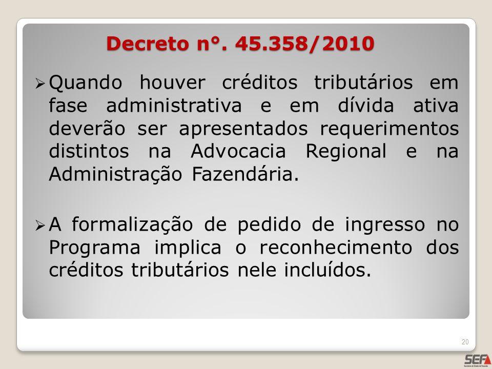 Quando houver créditos tributários em fase administrativa e em dívida ativa deverão ser apresentados requerimentos distintos na Advocacia Regional e n