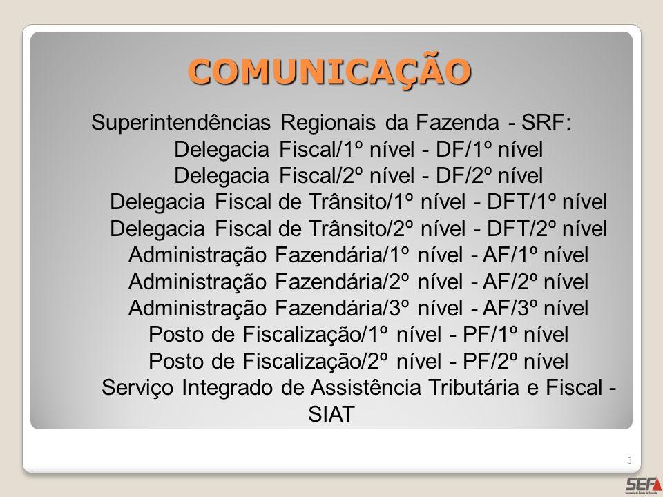 COMUNICAÇÃO 3 Superintendências Regionais da Fazenda - SRF: Delegacia Fiscal/1º nível - DF/1º nível Delegacia Fiscal/2º nível - DF/2º nível Delegacia