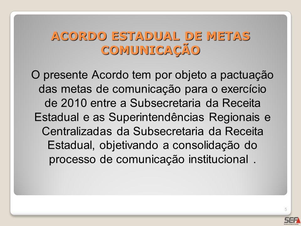 ACORDO ESTADUAL DE METAS COMUNICAÇÃO 5 O presente Acordo tem por objeto a pactuação das metas de comunicação para o exercício de 2010 entre a Subsecre