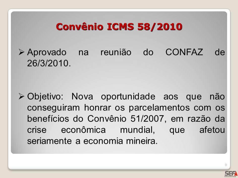 Convênio ICMS 58/2010 Aprovado na reunião do CONFAZ de 26/3/2010. Objetivo: Nova oportunidade aos que não conseguiram honrar os parcelamentos com os b
