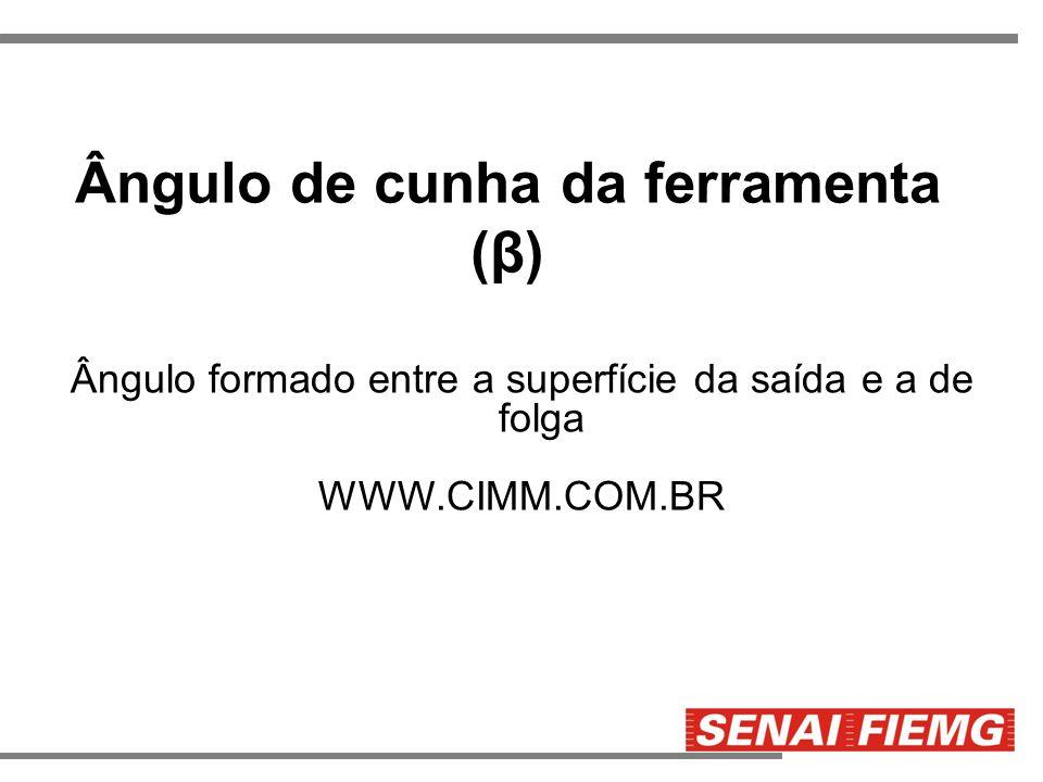 Ângulo de cunha da ferramenta (β) Ângulo formado entre a superfície da saída e a de folga WWW.CIMM.COM.BR