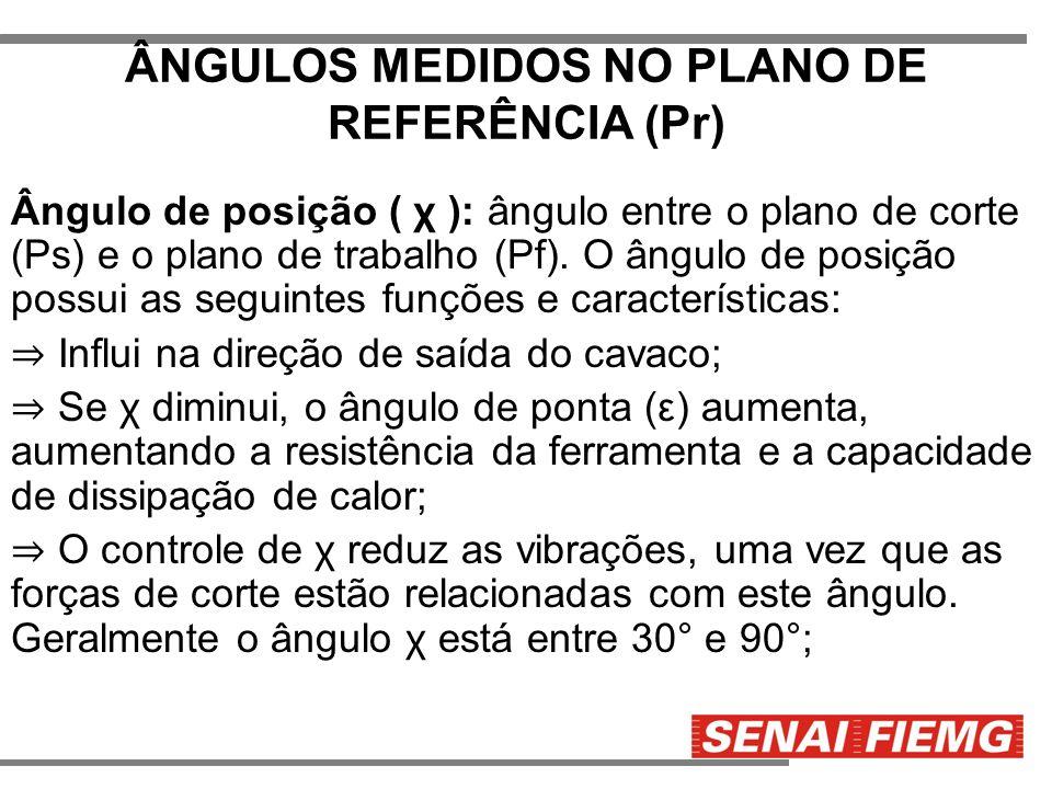 ÂNGULOS MEDIDOS NO PLANO DE REFERÊNCIA (Pr) Ângulo de posição ( χ ): ângulo entre o plano de corte (Ps) e o plano de trabalho (Pf). O ângulo de posiçã