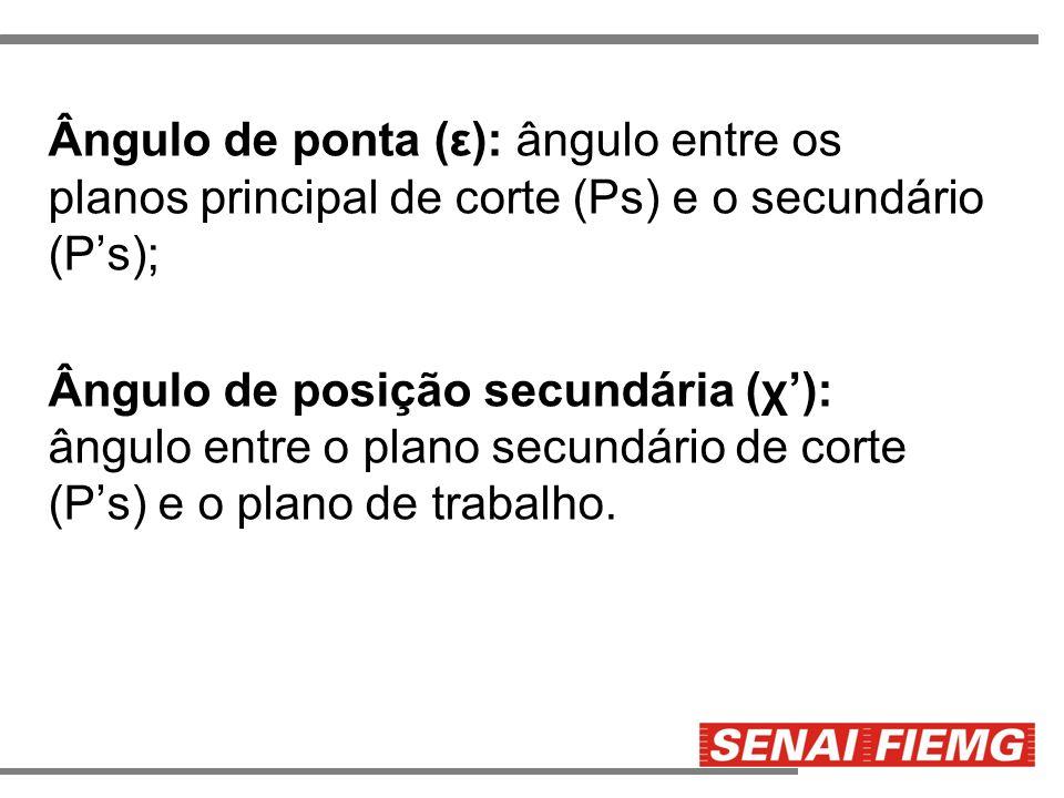 Ângulo de ponta (ε): ângulo entre os planos principal de corte (Ps) e o secundário (P s); Ângulo de posição secundária (χ ): ângulo entre o plano secu