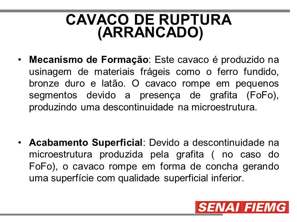 CAVACO DE RUPTURA (ARRANCADO) Mecanismo de Formação: Este cavaco é produzido na usinagem de materiais frágeis como o ferro fundido, bronze duro e latã